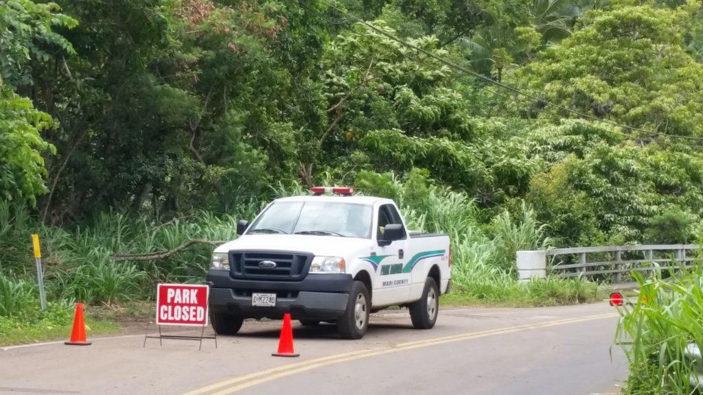Rangers patrolling the entrance to Kepaniwai Park earlier in the week.