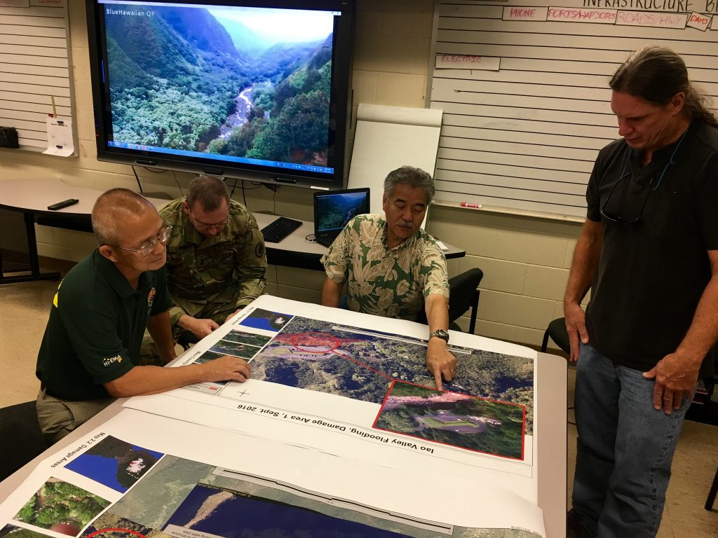 Governor to request Presidential Disaster Declaration for Public Assistance after surveying storm damage at Maui's Wailuku River at ʻĪao Valley.