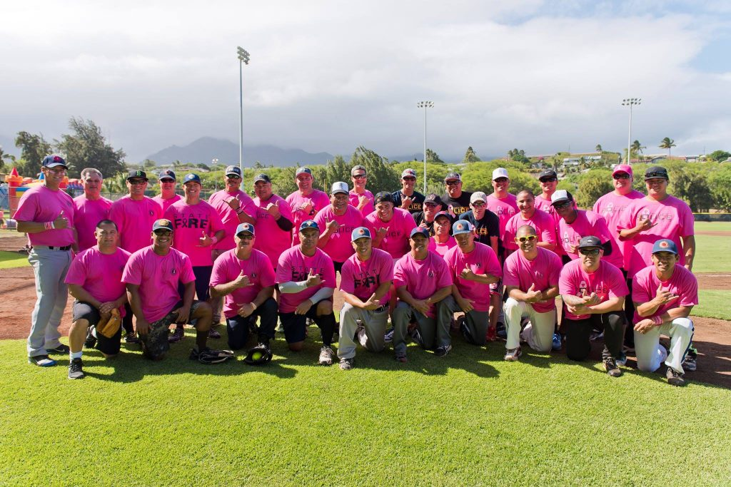 Go Pink 2015 players. Image courtesy Maui Department of Fire and Public Safety.