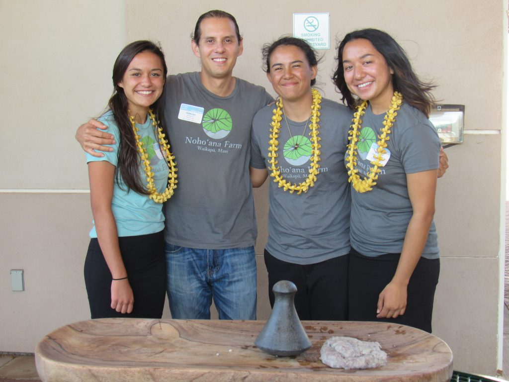 Nohoʻana Farm Noelani Reyes, Hokuao Pellegrino, Jade Chihara and Kealohalania Kaʻaikala. Image courtesy: STEMWorks/Maui Economic Development Board.