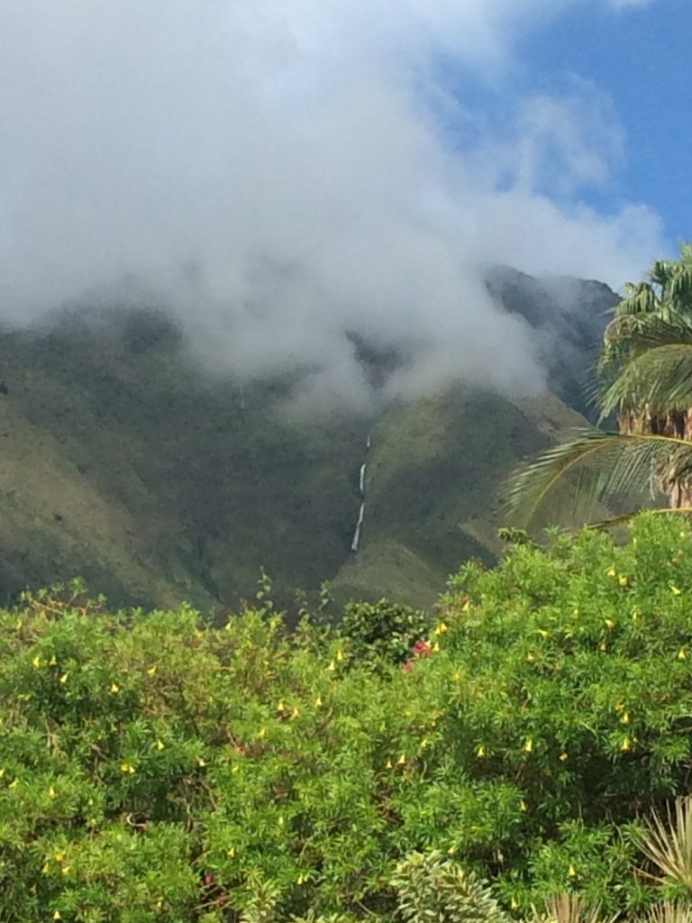 Waterfall looking toward Launiupoko in West Maui. PC: Barb Greenhalgh.