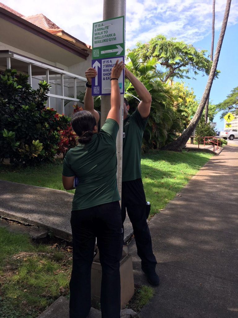Fifty-five new wayfinding signs promote health by encouraging walking and exploration of Wailuku Town's hidden and well‐known treasures.