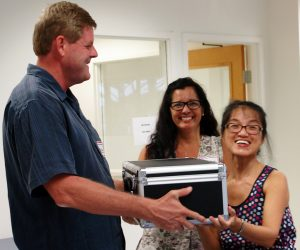 "CPA and SCORE Maui's Counselor Richard Kehoe shows up with a box at the MBB's inaugural BiTT meeting on Sept. 13, 2016, at MRTC in South Kīhei."" Image courtesy MBB"