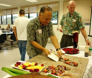 Meeting facilitators SBDC Maui Center Director Wayne Wong and MEDB Business Development Director Gerry Smith at the inaugural BiTT in South Maui at MRTC on Sept. 13, 2016. Image courtesy MBB.