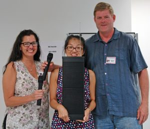 MBB organizers Nicole Fisher and Grace Fung, SCORE Maui Counselor Richard Kehoe and the new PA system. Image courtesy MBB