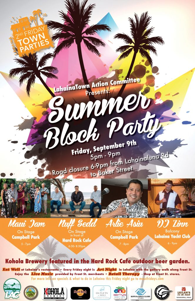 Lahaina Second Friday Town Party, Sept. 9, 2016 - 6-9 p.m.