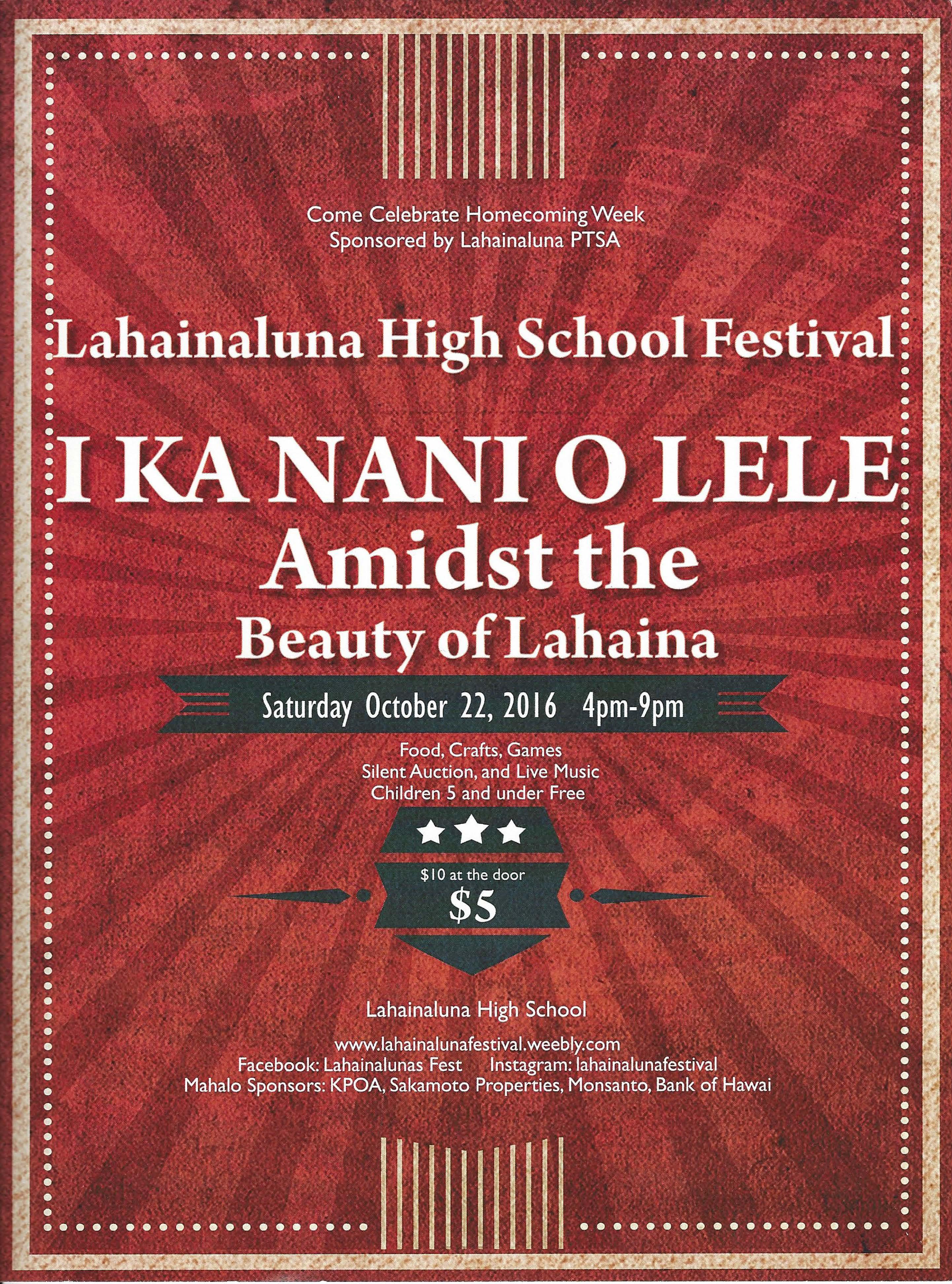 Lahainaluna Festival event flyer.