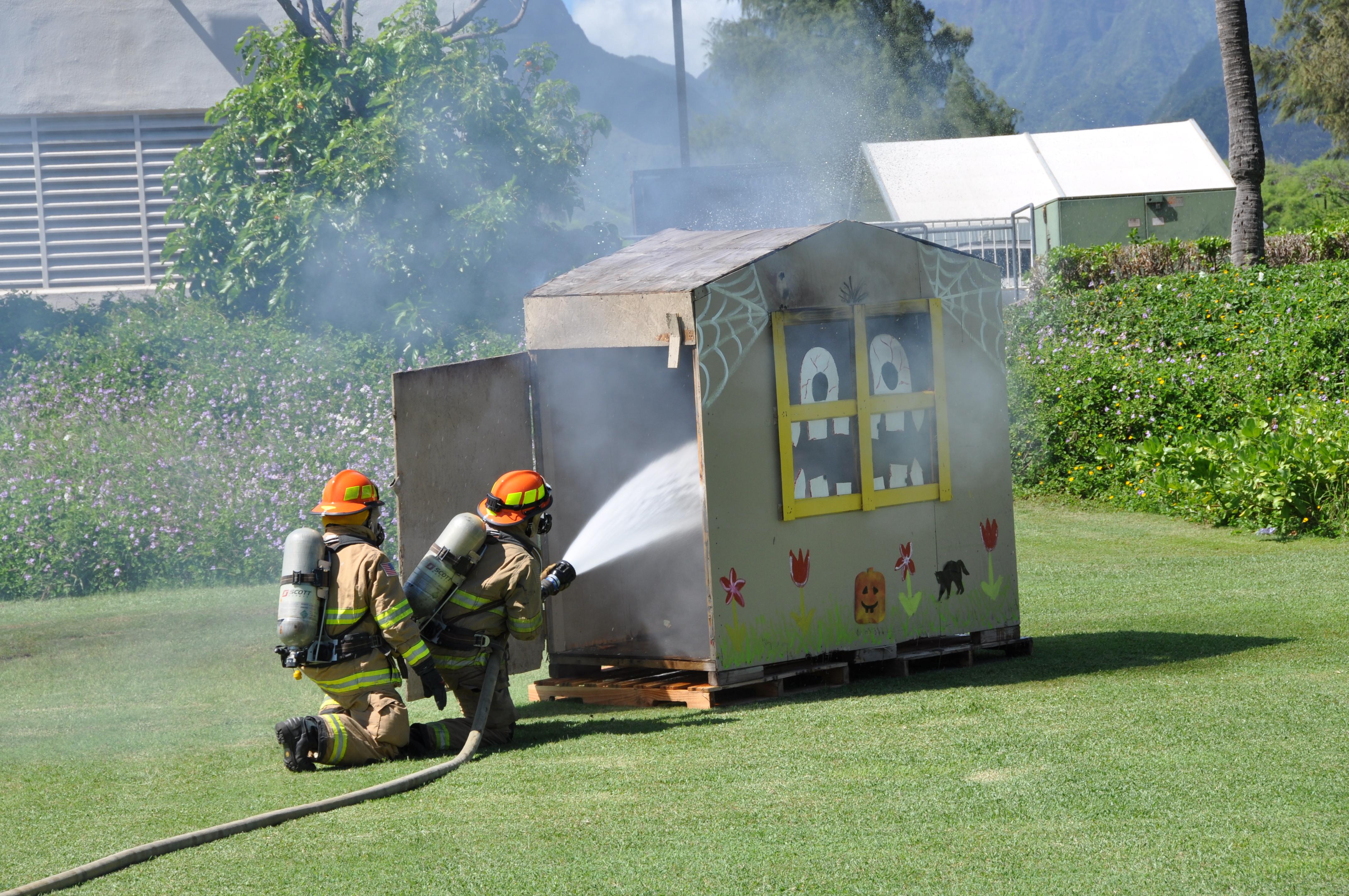 Maui fire prevention week demonstration.