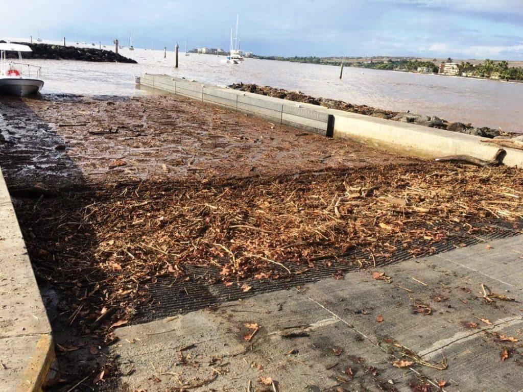 Mala wharf, debris. PC: County of Maui/harbormaster Miles Lopes