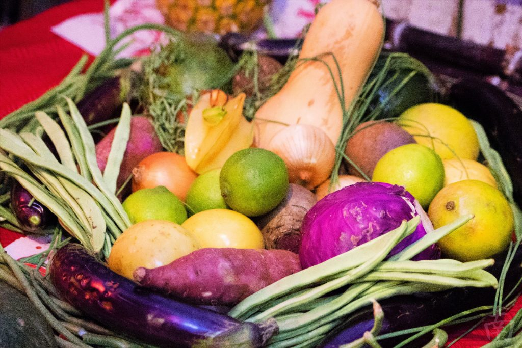 A harvest of island-grown produce is displayed during the Moon Festival at Wo Hing. Photo courtesy: Lahaina Restoration Foundation.