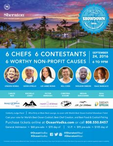 The third annual World's Best OCEAN Vodka Showdown will take place at The Sheraton Maui Resort & Spa on Saturday Sept. 24. Two Maui finalists and four mainland finalists will battle it out with celebrity chefs to win the World's Best OCEAN Vodka Cocktail. Courtesy photo.