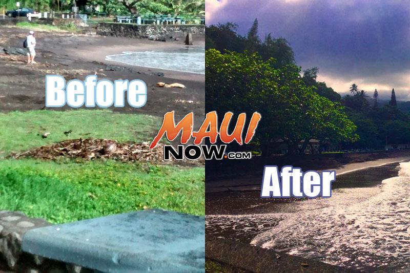 Hāna Bay before and after. Photo credit: Lehua Cosma and Tuks Medeiros.