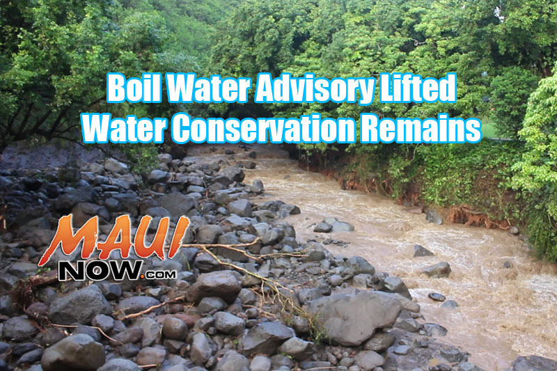 Effective September 19, 2016, 2:00 p.m., the Department of Water Supply (DWS) has cancelled water restrictions for consumers on Iao Valley Road and Main Street who were previously given notice of the water restriction. The request to conserve water remains in effect for Wailuku, Kahului and Lahaina.