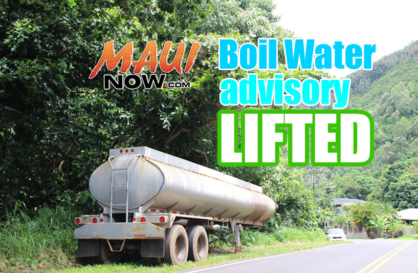 Boil Water Advisory Lifted. Maui Now graphic.
