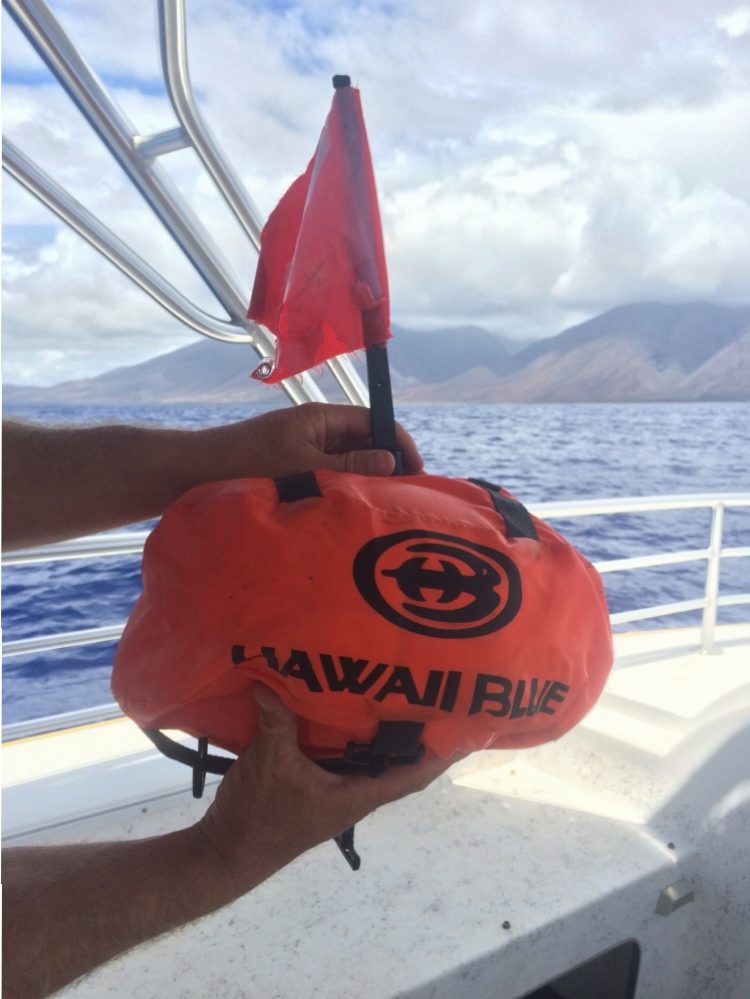 The Coast Guard is seeking the public's help identifying the owner of a dive float found two miles southwest of McGregor Point, Maui, Saturday. The dive float is orange with an orange flag and has the words Hawaiʻi Blue in black letters. (Courtesy photo: US Coast Guard District 14 Hawaiʻi)