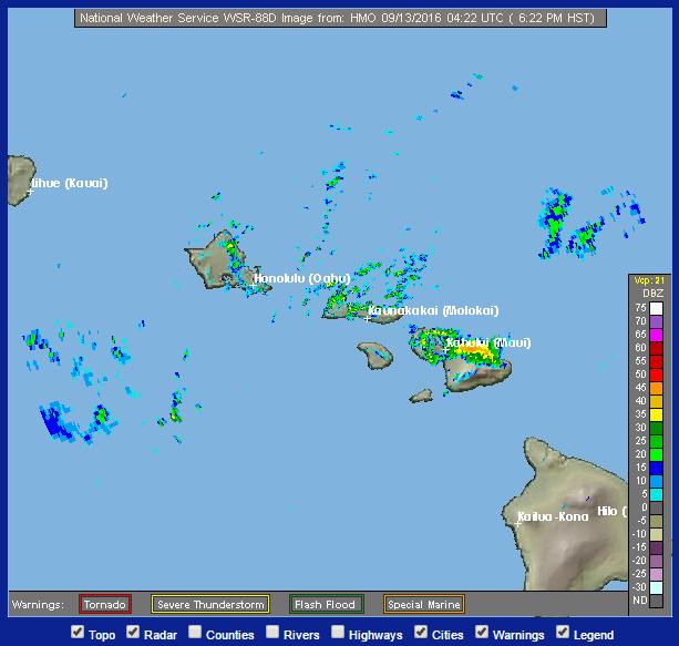 Flash Flood Warning for Maui 9/12/16. Radar Image: NOAA/NWS.