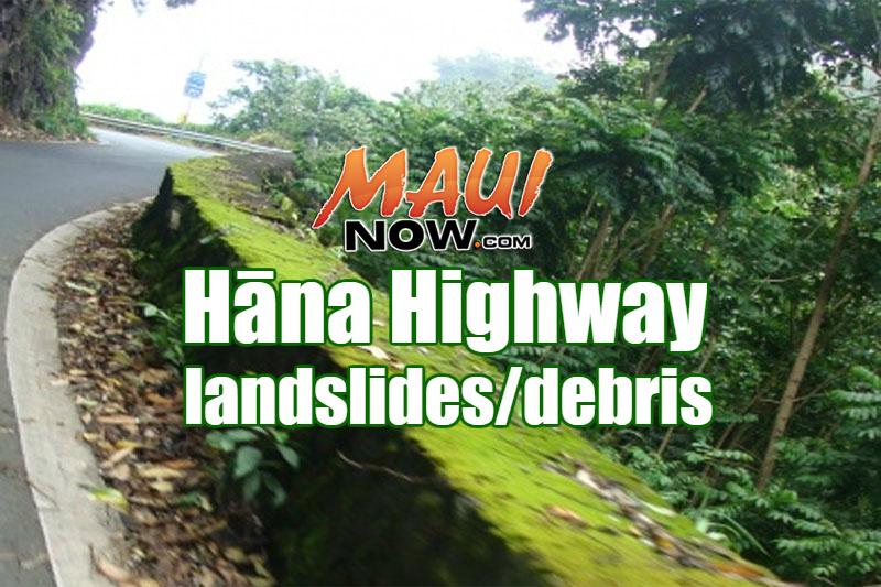 Hāna Highway (360) landslides/debris. Maui Now graphic.