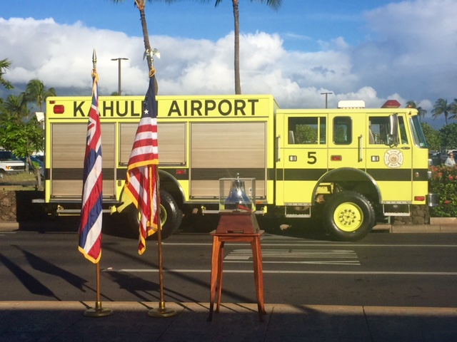 9/11 Moment of Silence at Kahului Airport. 9.11.16 Photo by Jennifer Bormet.