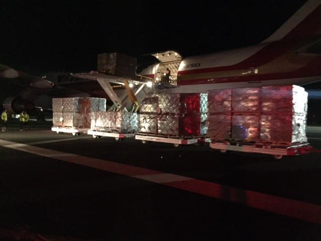 FEMA supplies arrive at Kahului Airport on Thursday night 9.1.16, ahead of Lester. PC: Jennifer Bormet