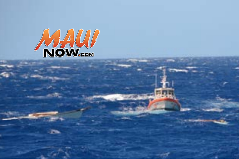 Post-mishap with KISKA cutter small boat and Station Maui RB-M on scene with KOLINA (Exhibit 82) Image: US Coast Guard, Final Action Report.