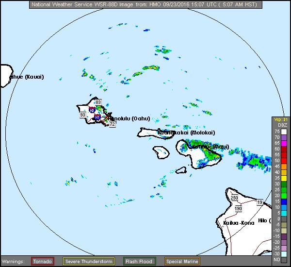 Maui radar, 5 a.m. 9/23/16. Image: NOAA/NWS.