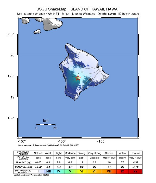 Mauna Loa earthquake shake map (intensity) image credit: NOAA/USGS/PTWC