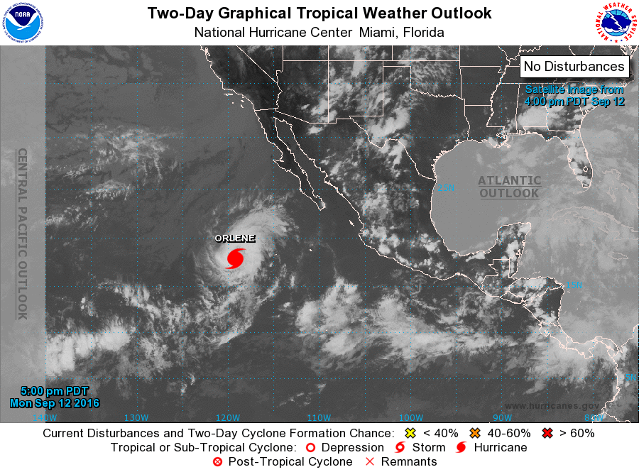 2 p.m. HST 9.12.16. Satellite 2-day graphical imagery of Orlene courtesy National Hurricane Center/NOAA/NWS.