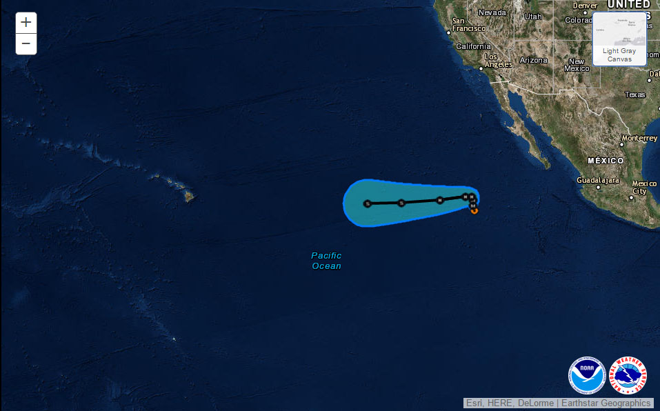 Orlene 5-day track as of 11 a.m. PDT 9.12.16. Image: National Hurricane Center/NOAA/NWS