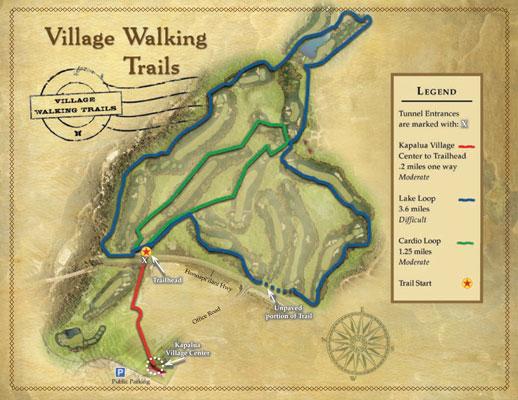 Village Walking Trails Map. Photo Courtesy: Kapalua Resort