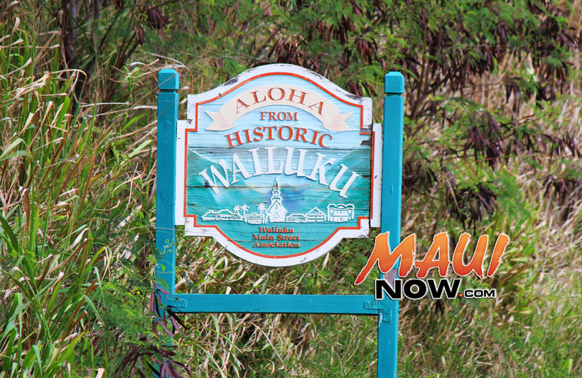 Historic Wailuku Town sign already in place at the corner of Mokuhau Road and the Kahekili Highway. Photo by Wendy Osher.