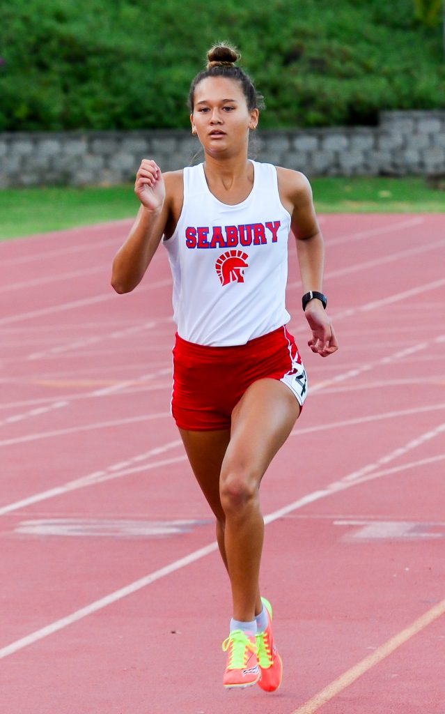 The 2016 state girls cross-country runner-up Ava Shipman of Seabury Hall. She is pictured here during the 2015 track and field season. File photo by Rodney S. Yap.