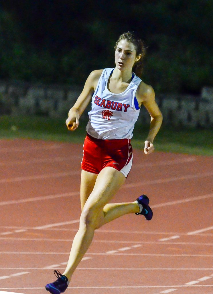 Seabury Hall's Erika Preseault finished fourth at Saturday's state cross-country championships on the Big Island. Preseault is pictured here during the 2015 track and field season. File photo by Rodney S. Yap.