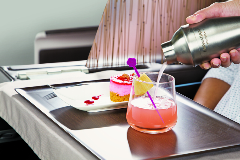 Hawaiian Airlines Lie Flat seating area, Dessert and Drink. PC: Rae Huo photo 9/16.