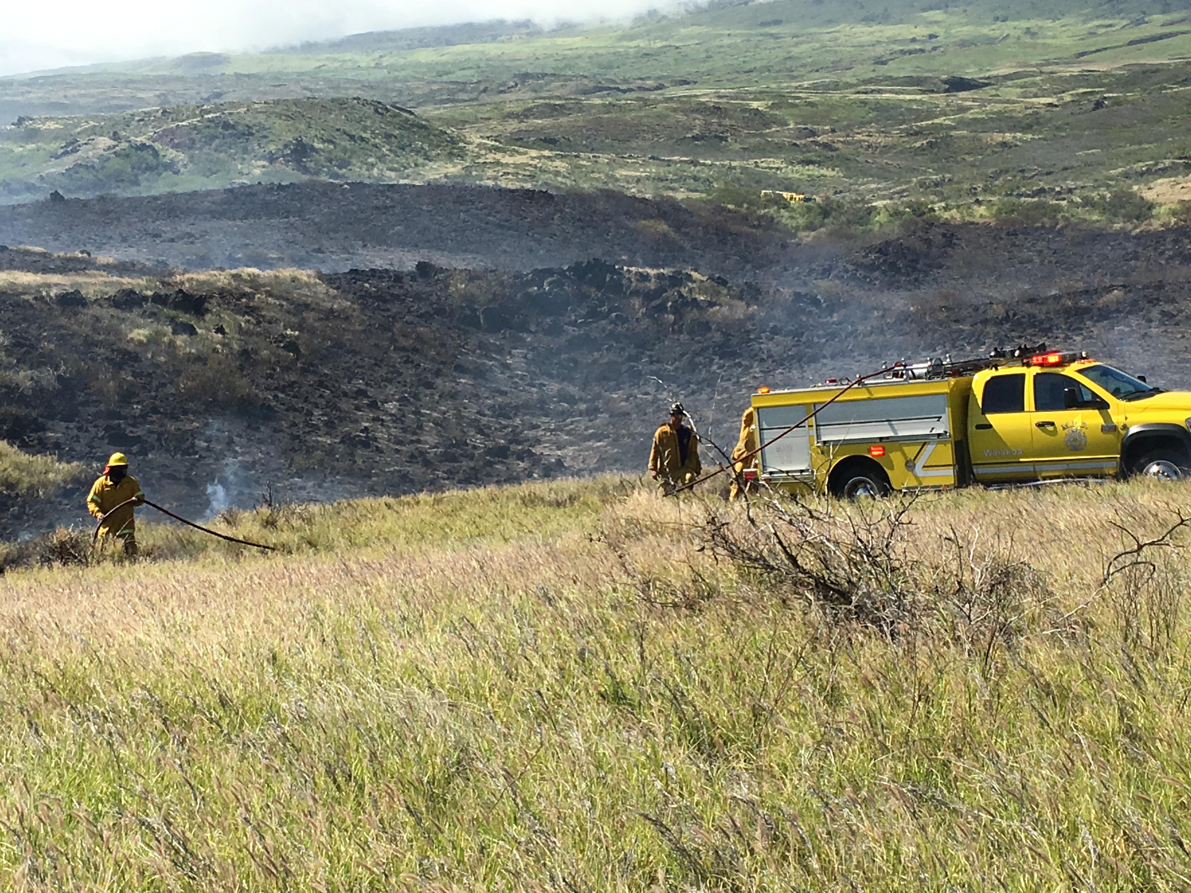 Kahikinui brush fire on 10.17.16. PC: Maui Fire Dept. PC: Maui Fire Dept.