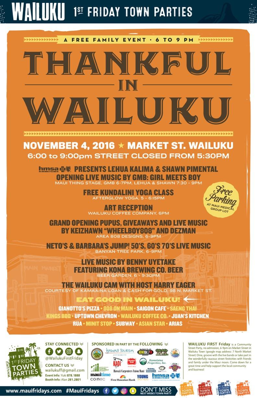 Wailuku First Friday, Nov. 4, 2016.