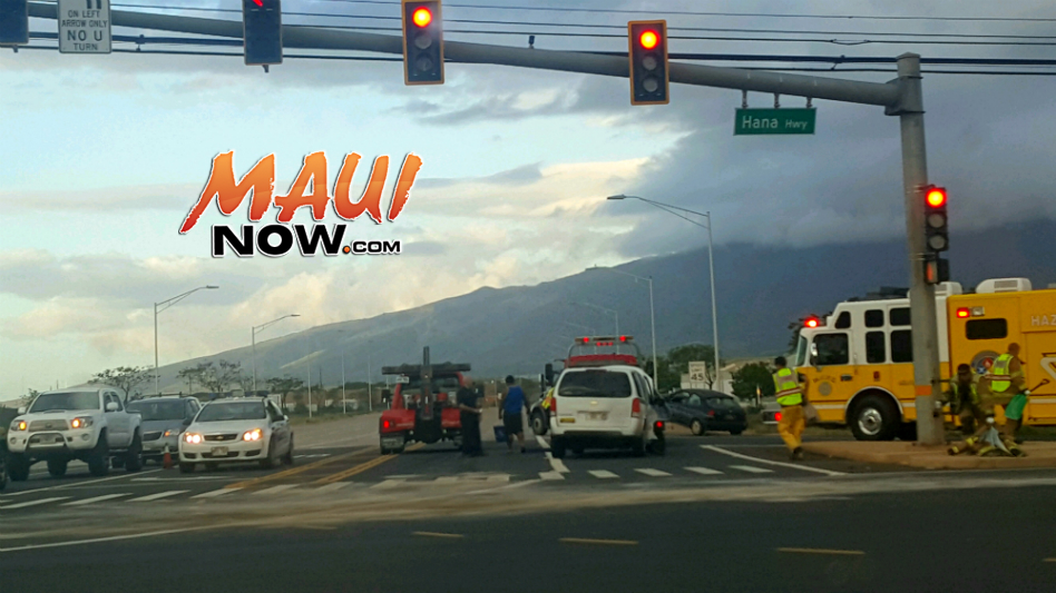 Kahului traffic accident at Hāna Hwy and Kahului Airport Access Road, 10.5.16. PC: Jason Fabrao