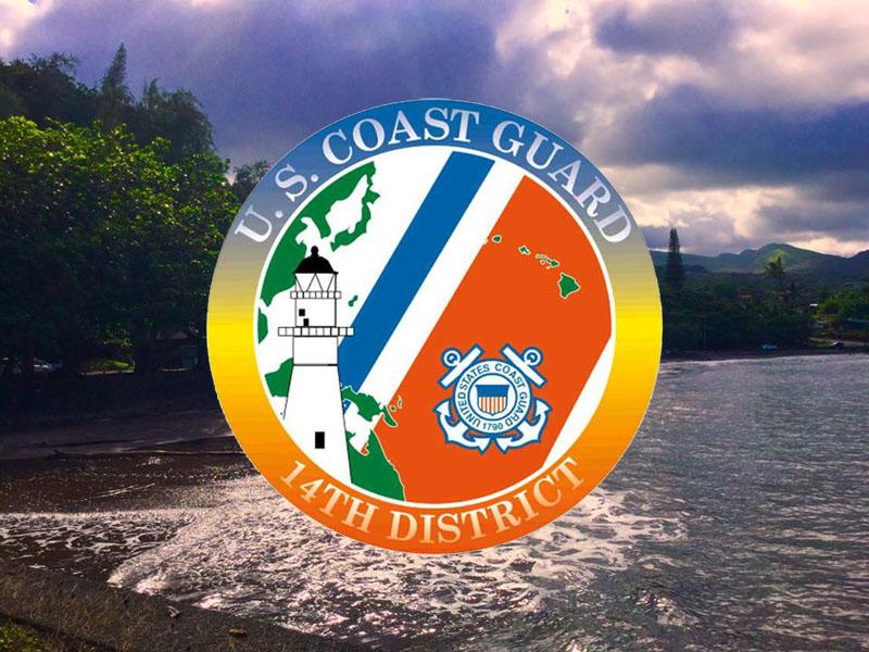 Coast guard logo. Hāna Bay in background. Maui Now.