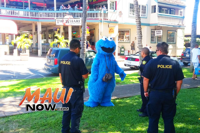 Cops were checking in on an individual dressed as Cookie Monster, making sure he wasn't panhandling at the Banyan Tree park in Lahaina. No ticket was issued, and police left. Sources say he has been there two days in a row. The area will be full of people in costume on Oct. 31 as the Lahaina Town Action Committee hosts its annual Halloween in Lahaina event, which attracts thousands of revelers each year. Photo courtesy: Kevin Olson.