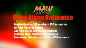 False Alarm Ordinance. Maui Now graphic.