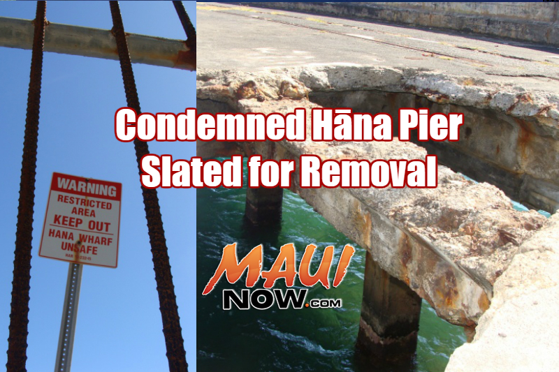 Condemned Hāna Pier slated for removal. File image 2008 by Wendy Osher.