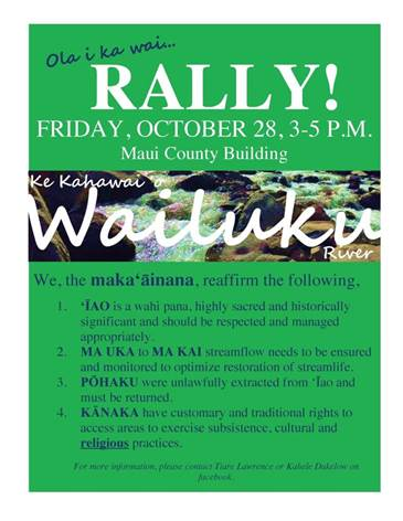 Rally for ʻĪao event flyer.
