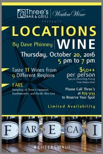 Three's Bar & Grill in Kīhei hosts a wine dinner featuring Dave Phinney's Locations wine on Thursday, Oct. 20. Courtesy image.