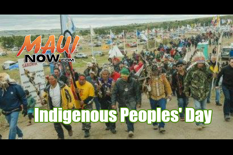 Indigenous Peoples' Day. Background image courtesy Hoʻoulu Lāhui Hawaiian Studies Program at UHMC.