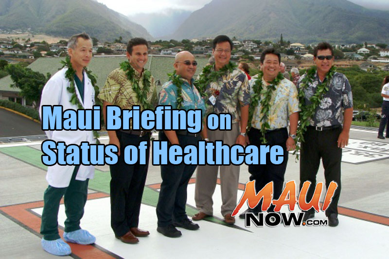 File image from 2011 Helipad dedication at MMMC. (L to R) Dr. Colin Lee, Lt. Gov. Brian Schatz, Lawmaker Gil Keith-Agaran, Maui Memorial Medical Center CEO Wes Lo, Rep. Kyle Yamashita, and MMMC Regional Board Member Anthony P. Takitani. Sen. Keith Agaran and Takitani are among the individuals participating in the upcoming briefing. File photo 9.22.11, by Wendy Osher.