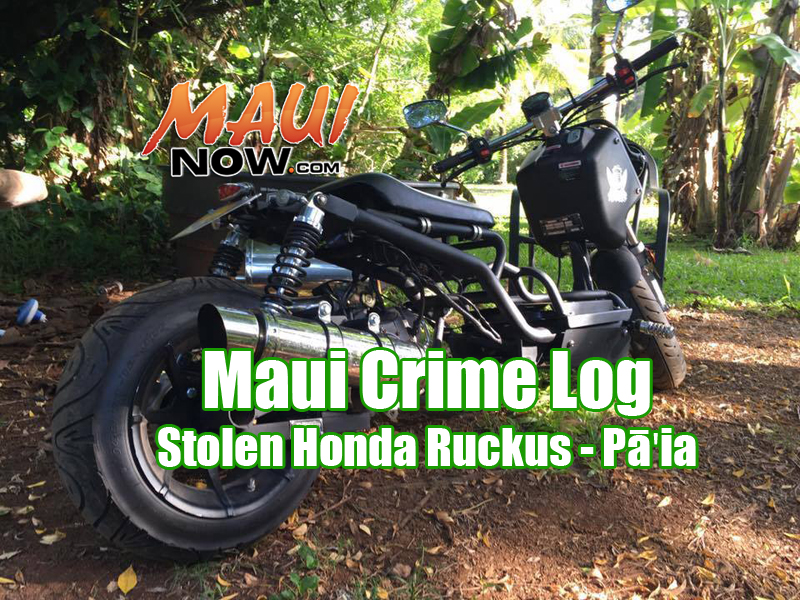 A black Honda Ruckus was stolen from behind Charley's Restaurant and Saloon in Pāʻia on Tuesday night, Oct. 4, 2016.