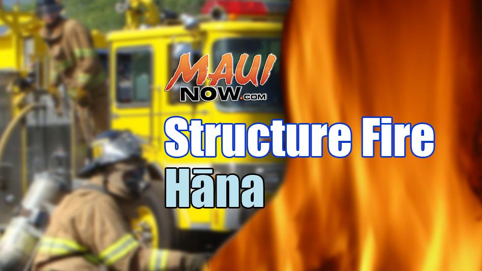 Hāna structure fire. Maui Now graphic.