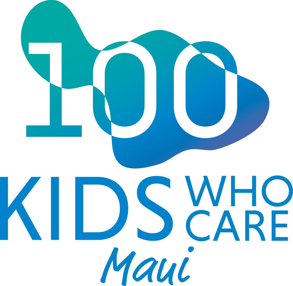 100 Kids Who Care Maui logo.