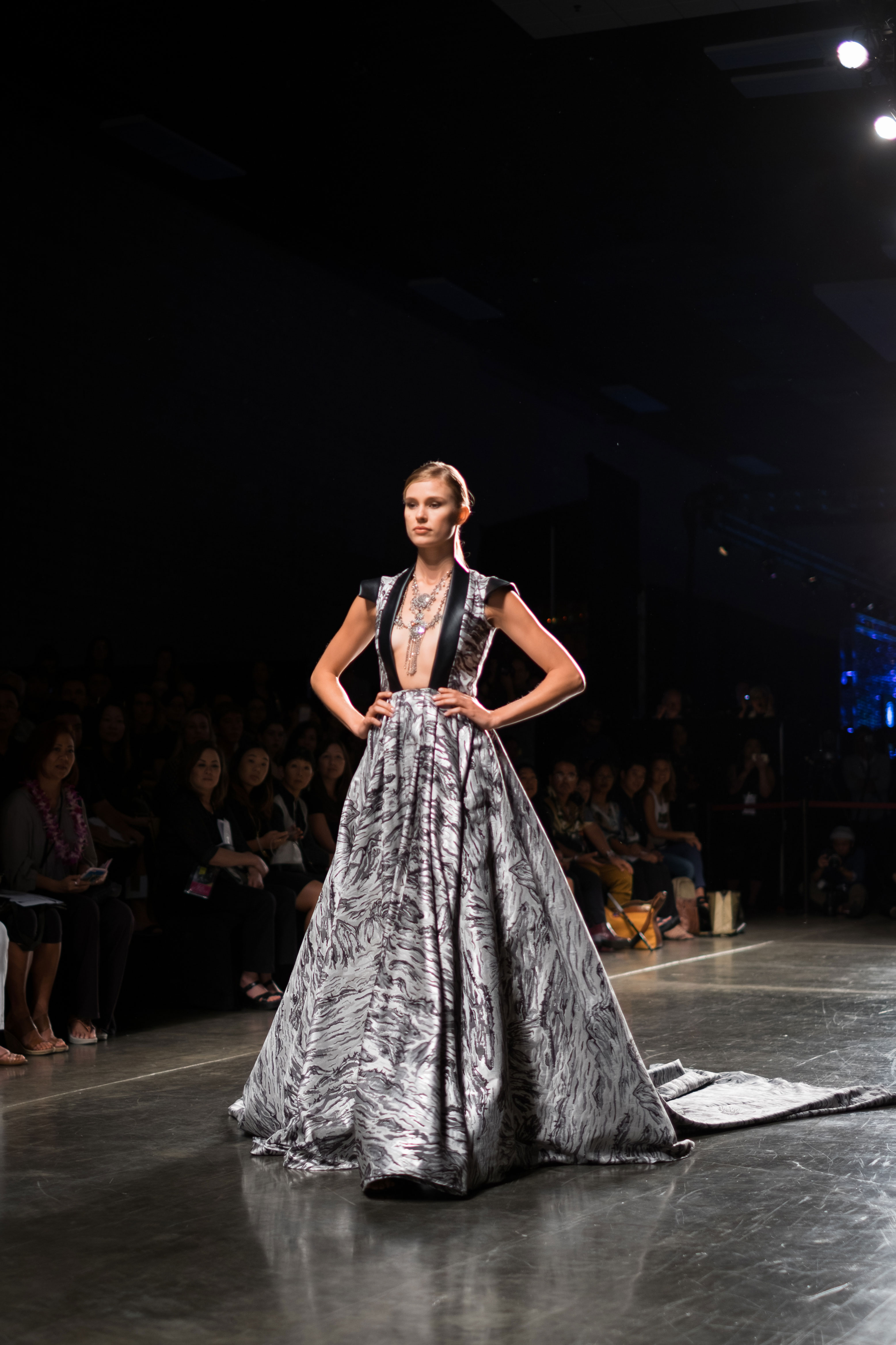 Keke Lindgard in Kojo Couture design. PC: Gary Saito/HONOLULU Fashion Week