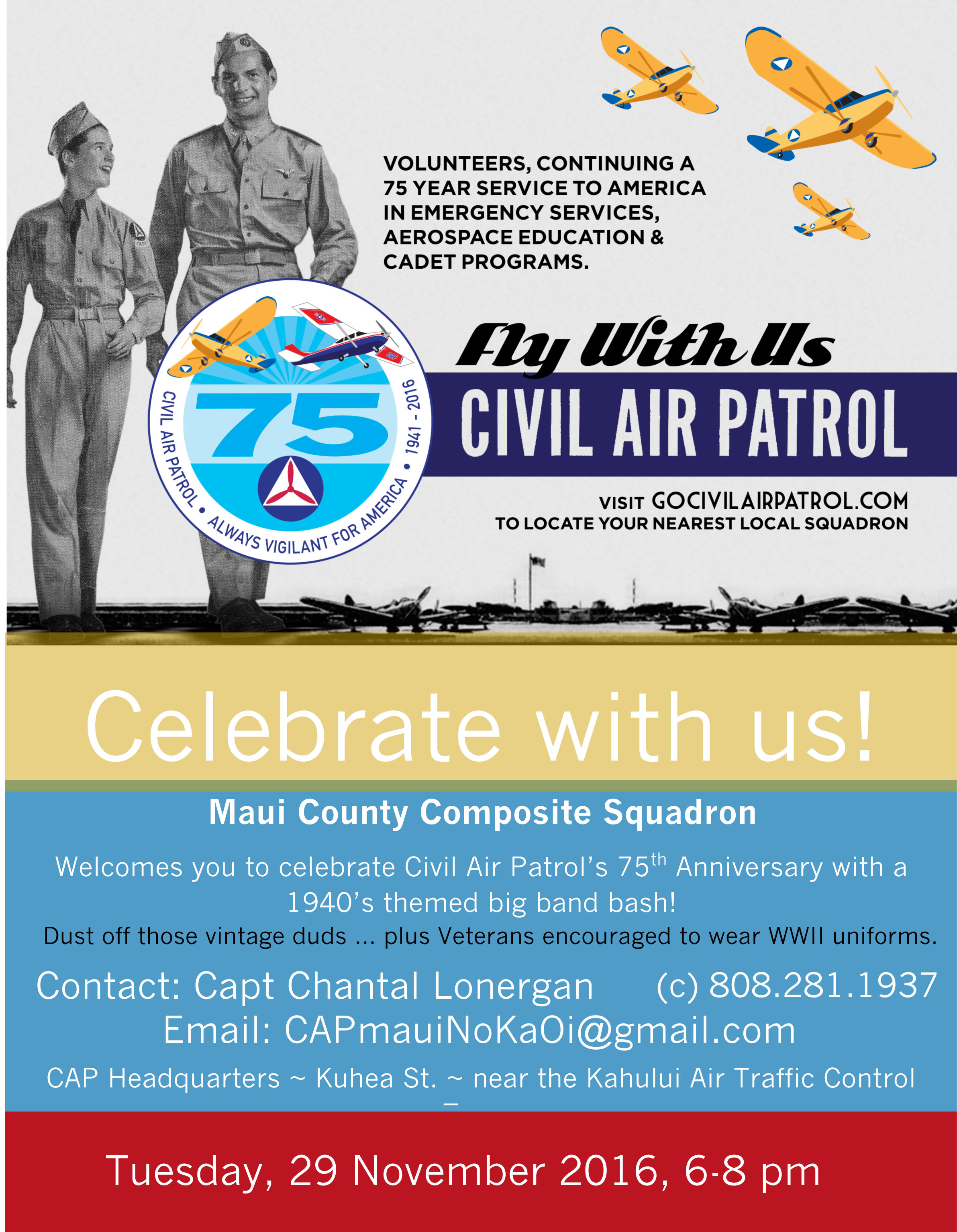 Maui Civil Air Patrol 75th Anniversary Big Band Bash and Open House