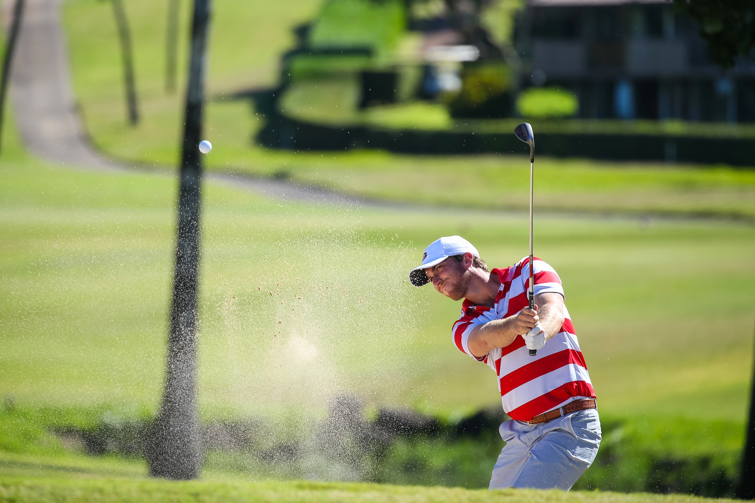 Zach Healy of Georgia hits out of the green side bunker on number five during the second round of the 3rd annual Kaanapali Classic collegiate invitational. Kaanapali Royal Course Lahaina, Hawaii November 5th, 2016/ Photo by Aric Becker
